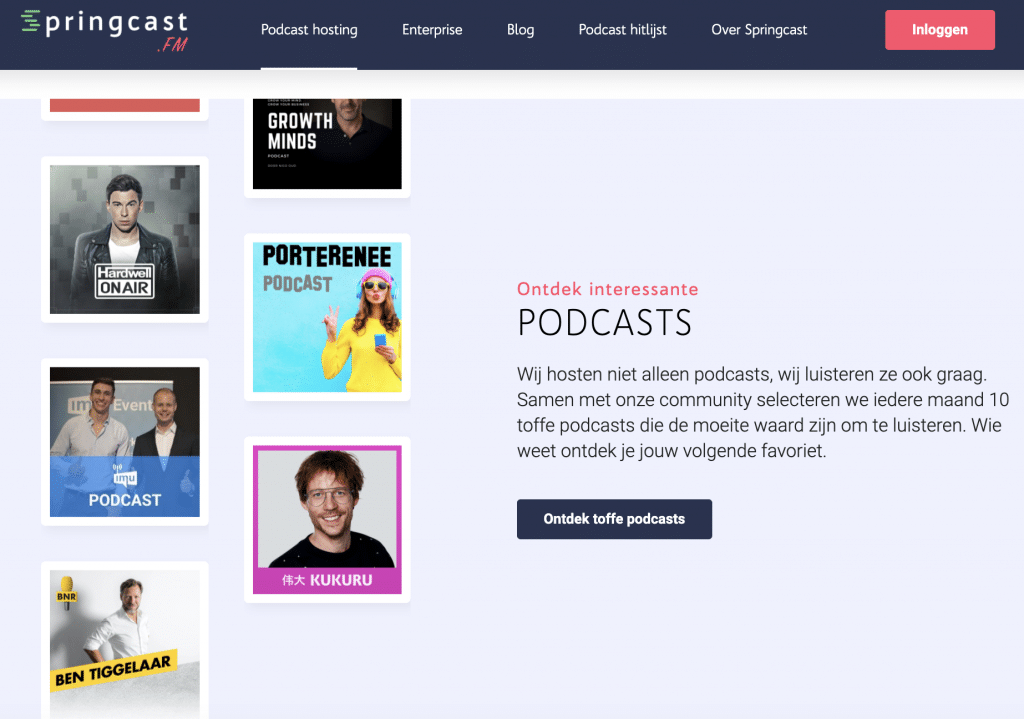 Springcast podcast hitlijst
