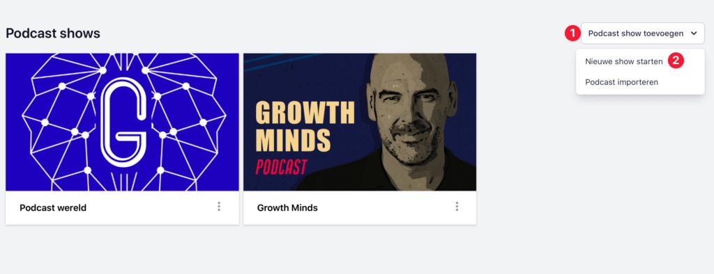 Nieuwe podcast aanmaken