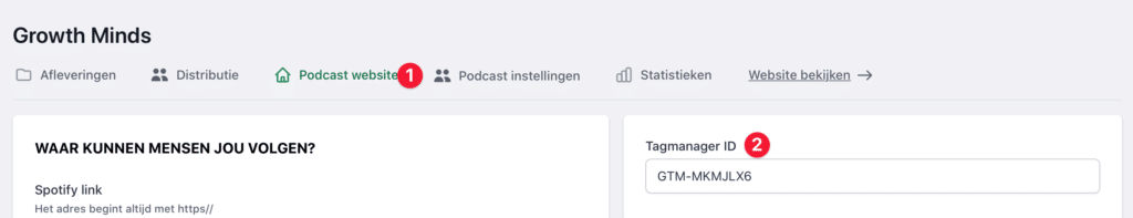 Google Tagmanager toevoegen aan podcast