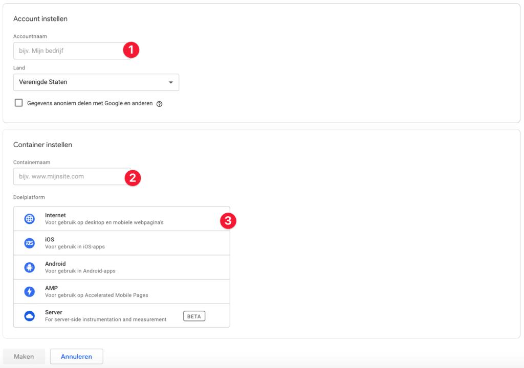 Google tag manager toevoegen