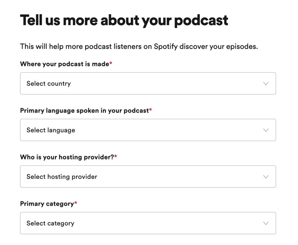 Details podcast invullen op spotify
